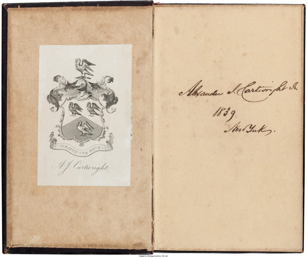 1839 Alexander Cartwright Signed Book--Earliest Known Cartwright Autograph