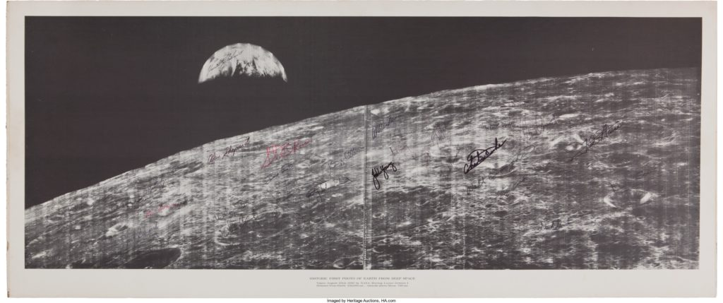 Historic First Photo of Earth from Deep Space Signed by all Twenty-Nine Apollo Astronauts
