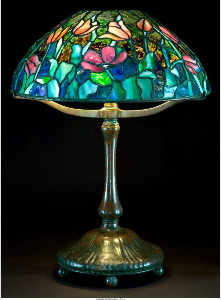TIFFANY STUDIOS PATINATED BRONZE LAMP WITH TULIP GLASS SHADE