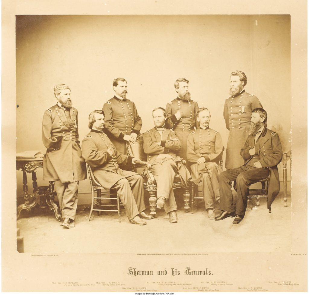 Brady Imperial Albumen Photograph Sherman and his Generals