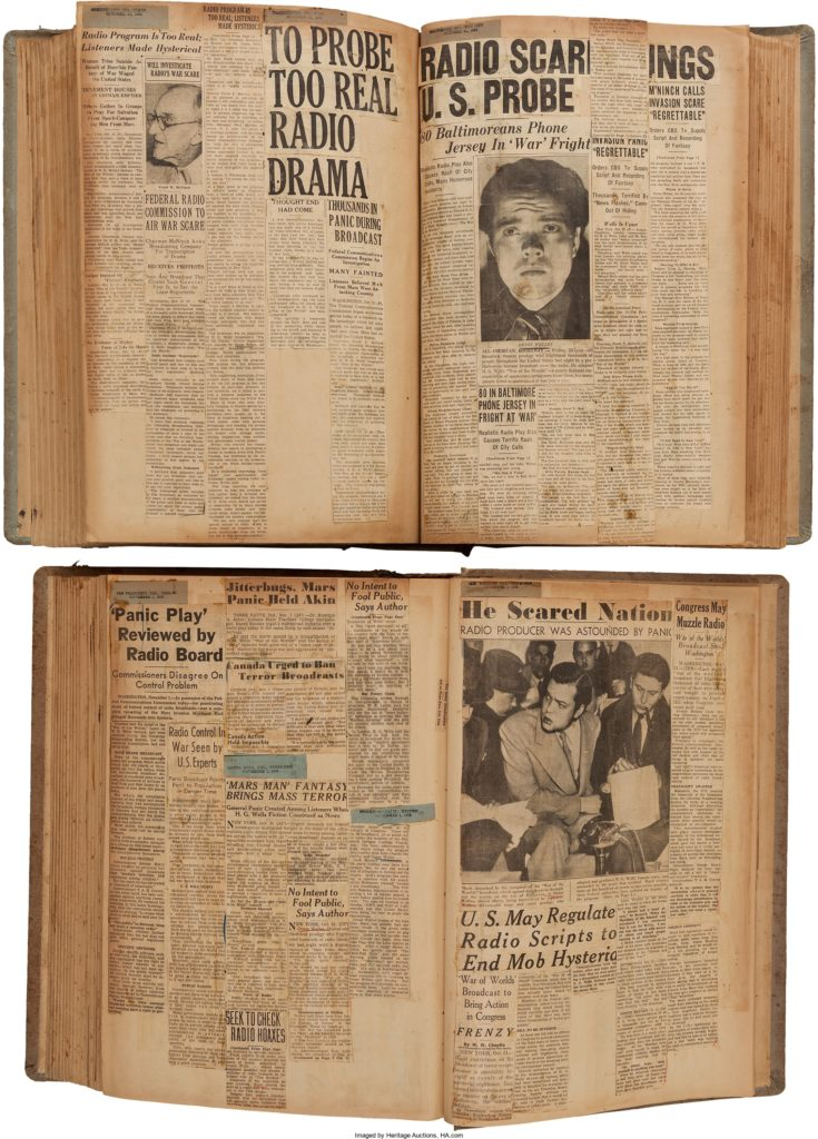 Orson Welles Pair of Scrapbooks Relating to The War of the Worlds