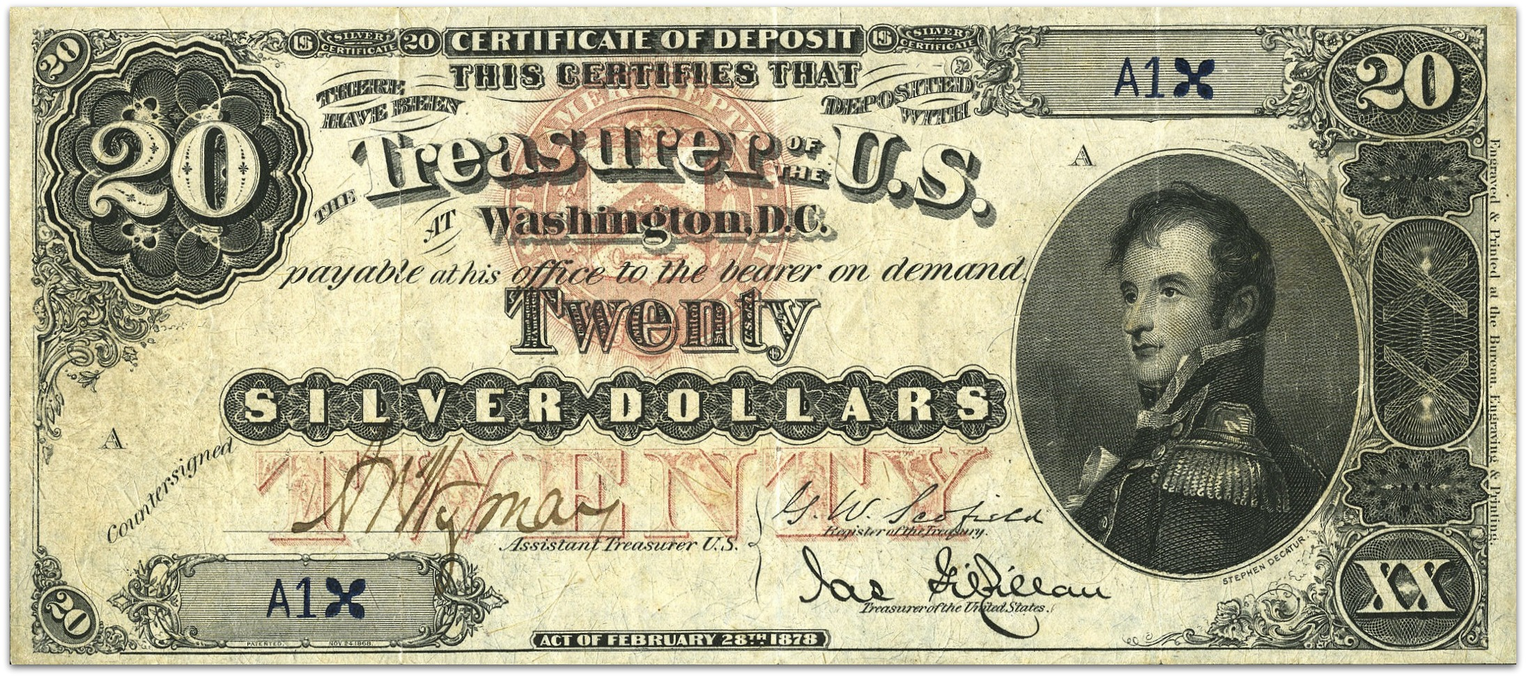 Link between value of money and gold a quaint relic of the past this serial number 1 stephen decatur 20 1878 silver certificate fr 306b is believed to be the first silver certificate ever produced xflitez Gallery