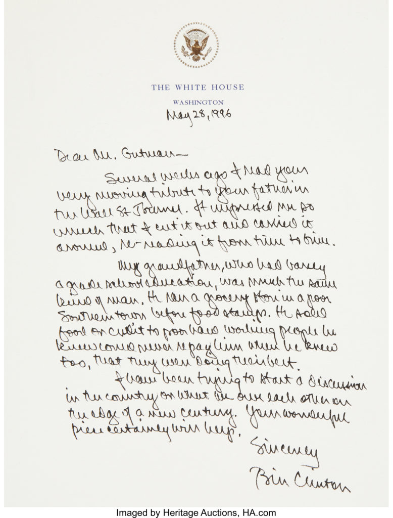 richard nixon Chelsea Clinton a 1996 letter president clinton sent to a journalist regarding an article that had moved the president sold for 10 755 at a february 2010 heritage
