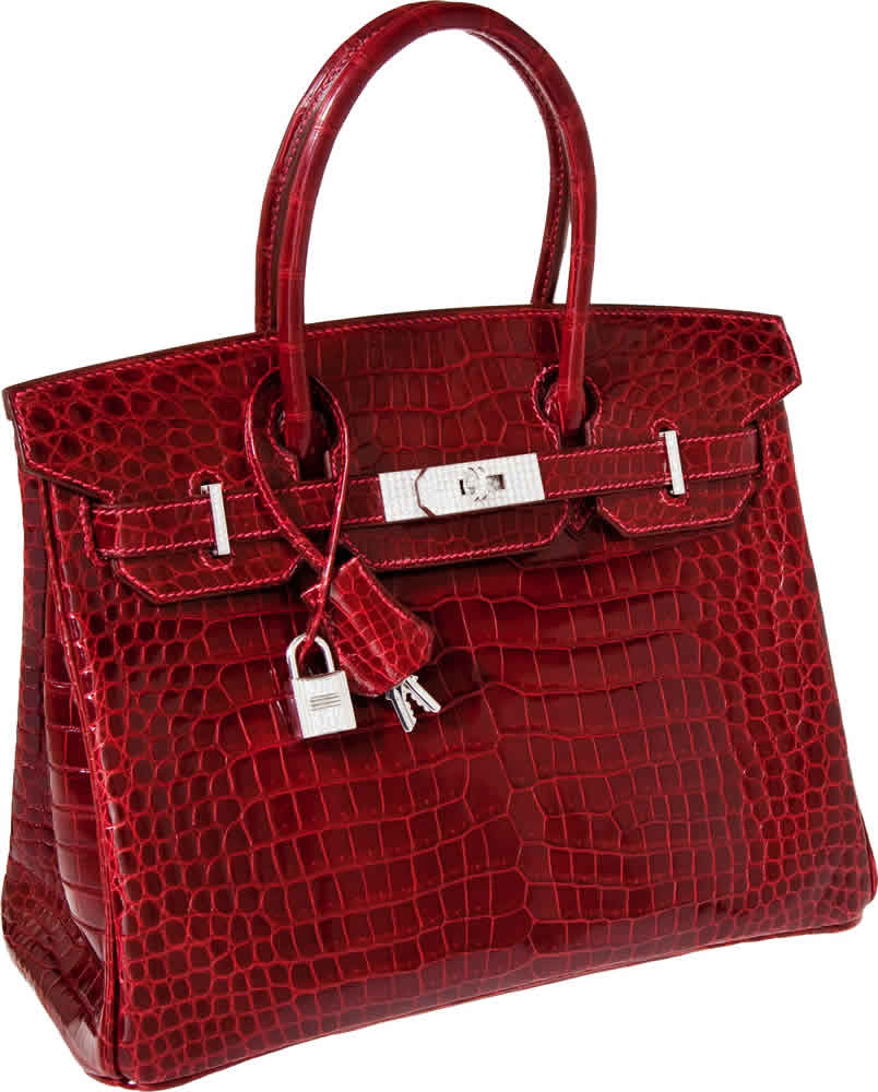 H-Hermes Exceptional Collection Shiny Rouge H Porosus Crocodile 30cm Birkin Bag