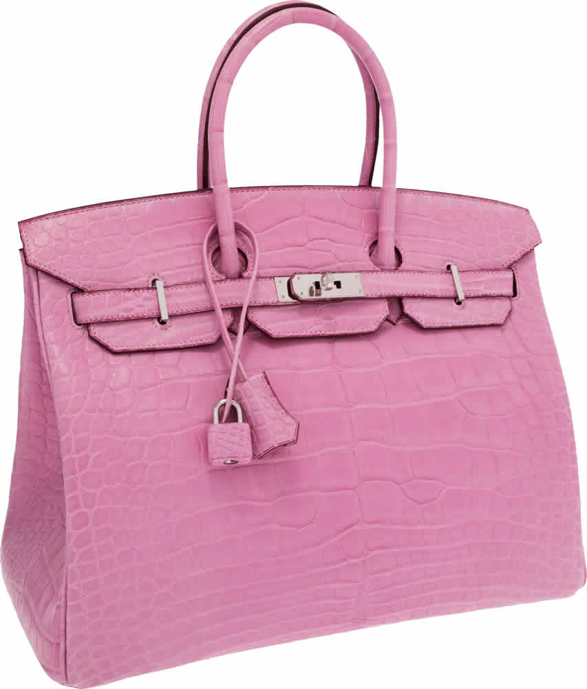 H-Hermes Extremely Rare 35cm Matte Pink 5P Alligator Birkin Bag with Palladium Hardware
