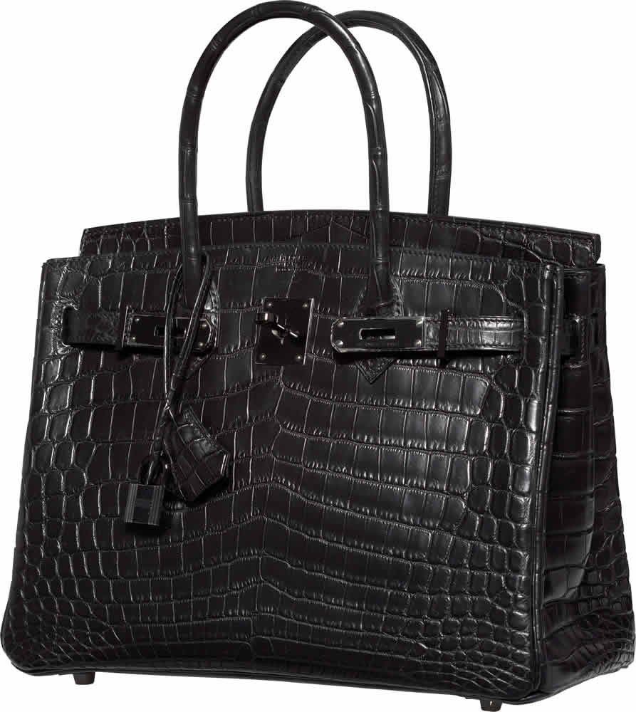 H-Hermes Limited Edition 30cm Matte So Black Nilo Crocodile Birkin Bag