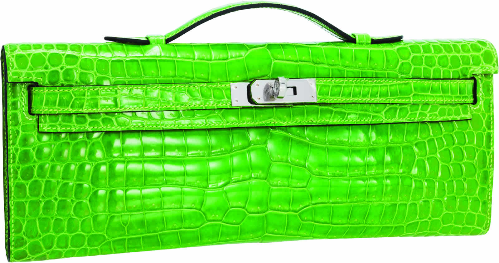 H-Hermes Shiny Kiwi Porosus Crocodile Kelly Cut Clutch Bag with Palladium Hardware
