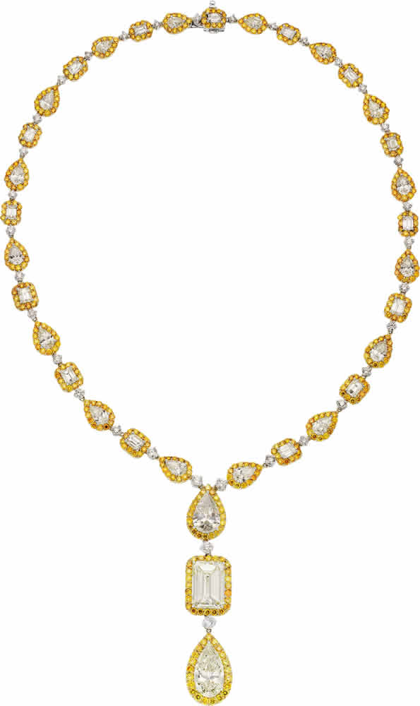 J-Diamond, Colored Diamond, Platinum, Gold Necklace, Oscar Heyman Bros