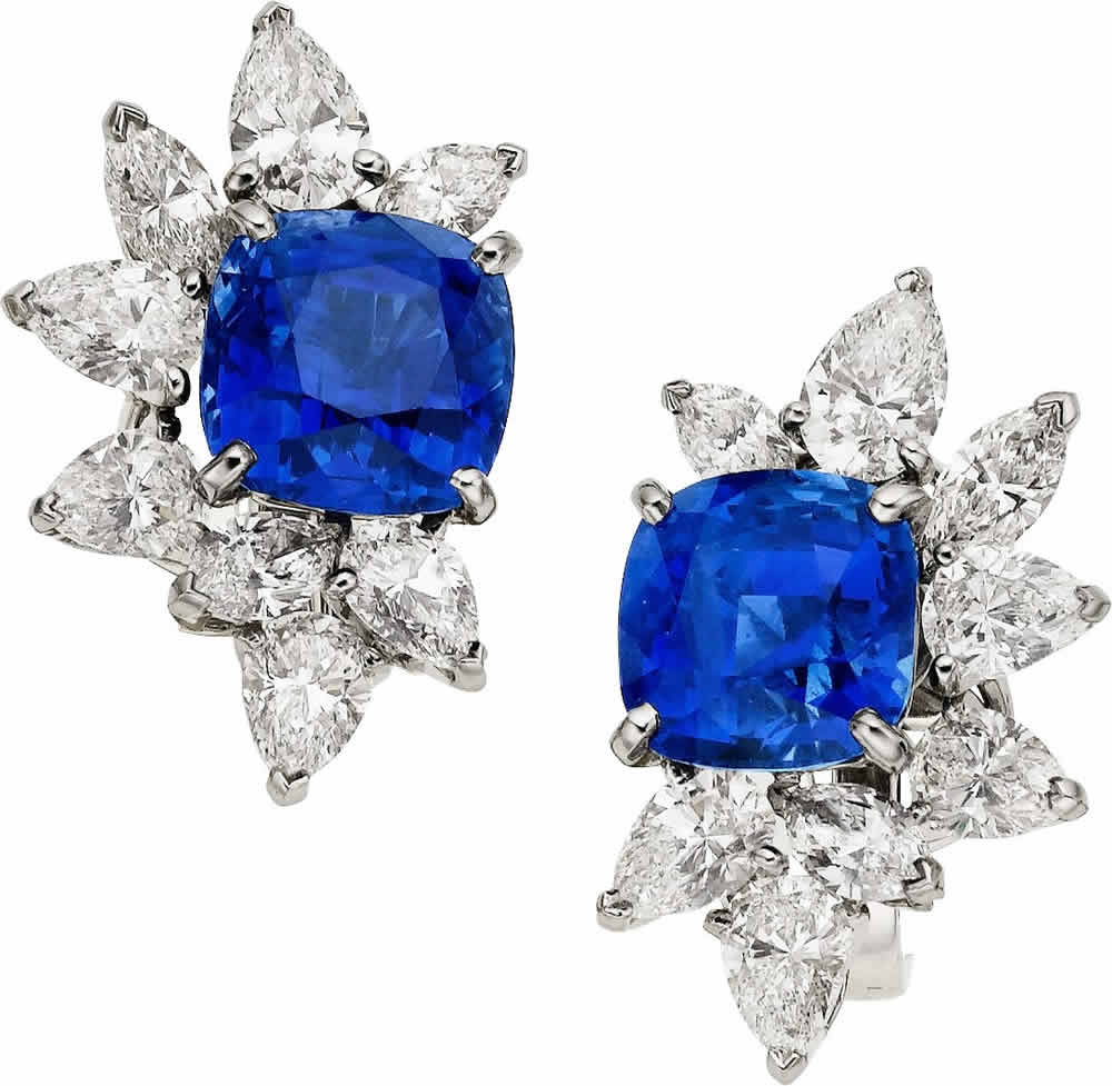 J-Sapphire, Diamond, Platinum, White Gold Earrings, Monture Harry Winston