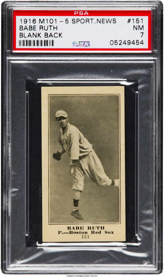 1916 M101-5 Blank Back Sporting News Babe Ruth