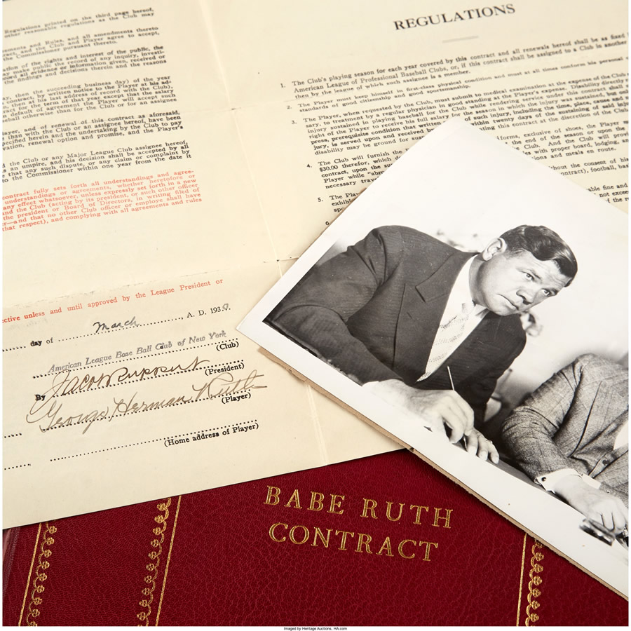 1930-31 Babe Ruth Signed New York Yankees Players Contract