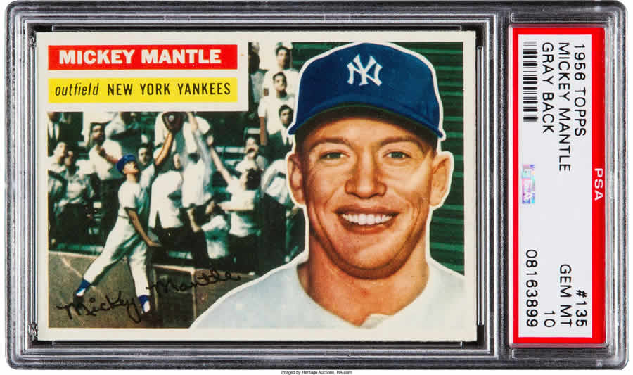 1956 Topps Mickey Mantle Gray Back #135