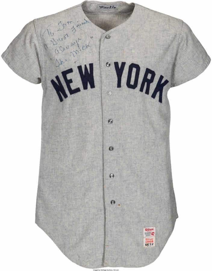 1968 Mickey Mantle Game Worn New York Yankees Jersey Attributed to 535th