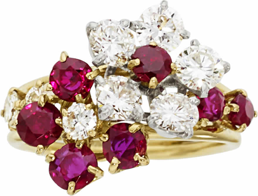 Diamond, Ruby, Platinum, Gold Ring, Van Cleef & Arpels