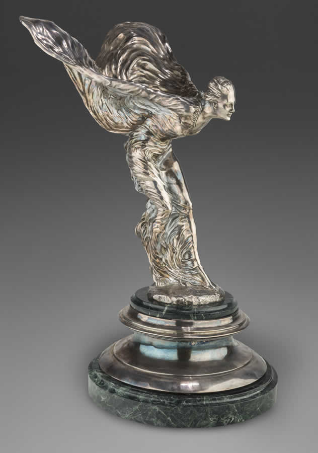 Silvered Bronze and Malachite Mounted Spirit of Ecstasy