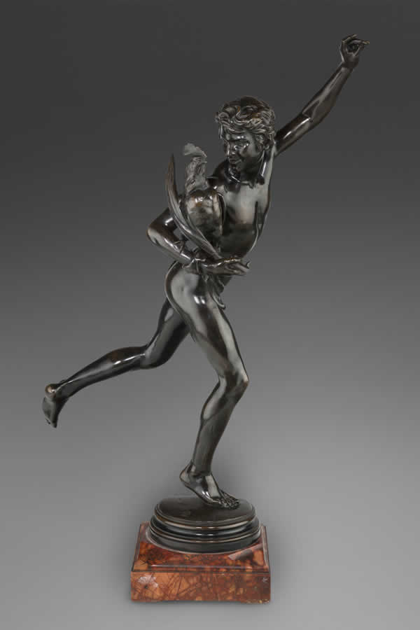 Patinated Bronze Figural Group of Man with Rooster,
