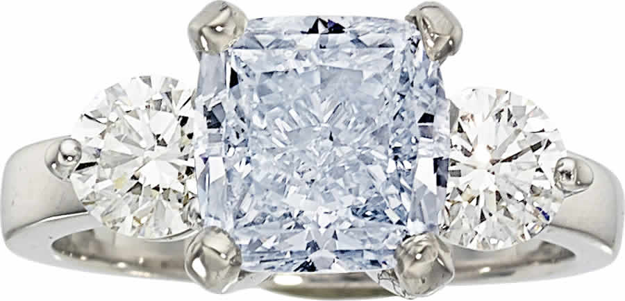 Fancy Blue Diamond, Diamond, Platinum Ring
