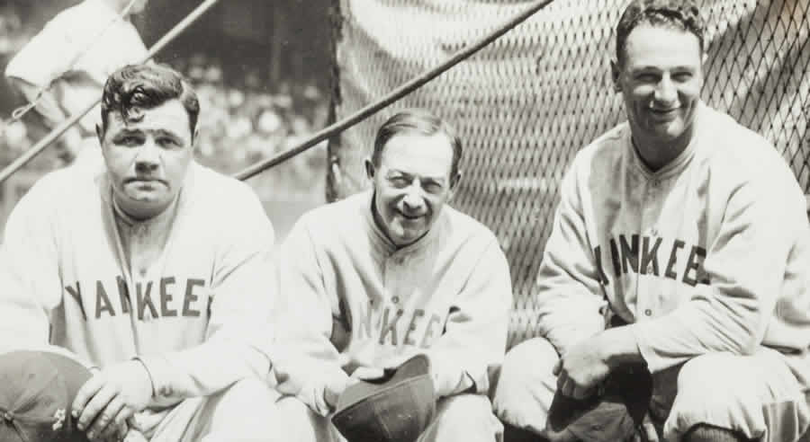 Babe Ruth and Lou Gehrig with manager Miller Huggins, 1927.