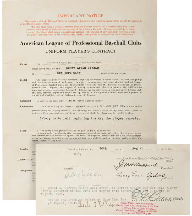 Gehrig Signed New York Yankees Rookie Contract,