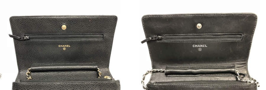 a genuine Chanel Wallet on Chain (left) and a fake (right).
