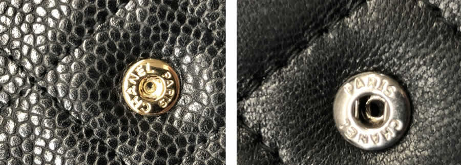 Close up of genuine Chanel snap (left) and a fake Chanel snap (right).