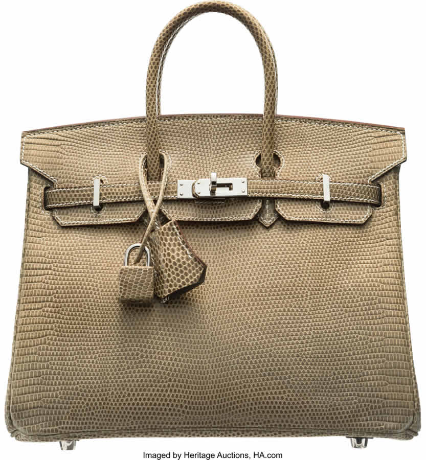 Hermès 25cm Ficelle Niloticus Lizard Birkin Bag with Palladium Hardware