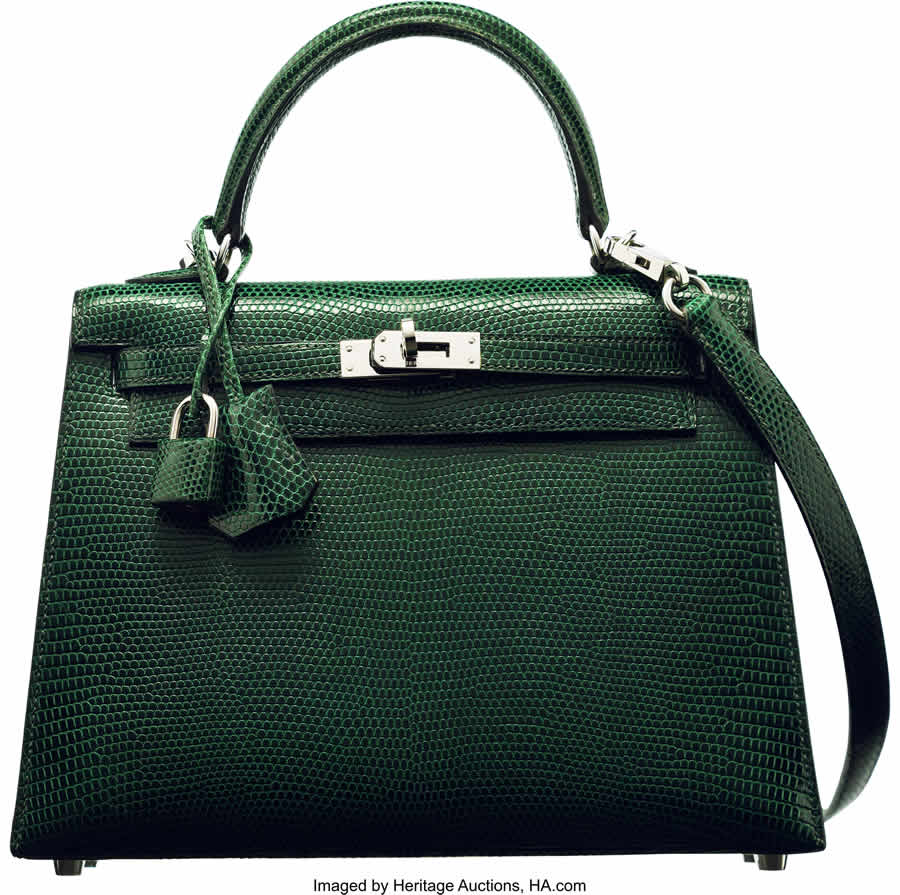 Hermès 25cm Shiny Vert Fonce Lizard Sellier Kelly Bag with Palladium Hardware